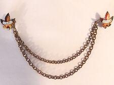 2 Antique Enamel CANADIAN MAPLE LEAF Pins w Detachable Sweater/Vest Clip Chain