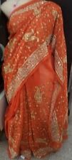 PRE PUJA SALE ! DESIGNER JARDOUSI EMBROIDERY PARTY WEAR CHIFFON SARI