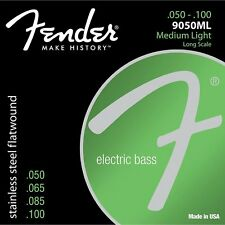 Fender 9050ML Stainless Steel Flatwound Long Medium-Light Bass Strings 50-100