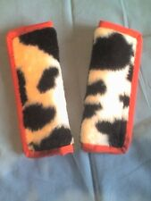 Lightly padded, Faux Black Cow Fur, Car Seat Belt Cover Pads. Red Trim. X2