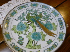"GOLD IMARI HAND PAINTED PORCELAIN PLATE PEACOCKS FLOWERS Blue Green 12"" VINTAGE"