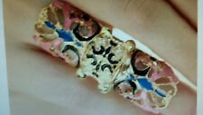 Gold Pink Blue Enamel Full Finger Armor Joint Knuckle Hollow Out Ring Size 7