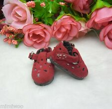 "12"" Neo Blythe Pullip Momoko Obitsu 1/6 Bjd Doll Shoes Velvet Flower Hole RED"