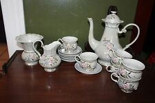 15 Piece Lusterware Iridescent Tea/Set with Capodimonte Flowers