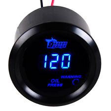 """Car Universal 2"""" 52mm Black Car Motor Digital Blue LED Oil Press Gauge PSI"""