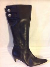 Buffalo Londres Negro Knee High Cuero Botas Talla 39