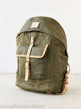 NWT WILL Leather Goods Wax Coated Dome Backpack (Olive) RRP $250