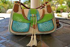 AUTHENTIC ETRO Handbag Shoulder Bag Canvas/ Leather
