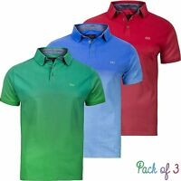 New Mens Pack of 3 Polo Shirts Multi 3Pack Endless Dip Dye Short Sleeve T-Shirts