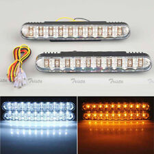 2x30 LED Car White DRL & Amber Turn Signal Daytime Running Light Daylight 12V #J