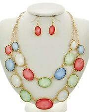 Two Layers Multi Color Faceted Lucite Bead Gold Tone Necklace Earring Set