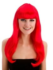 Adult Ladies Long Fiery Red Fantasy Wig With Fringe Fancy Dress Halloween Ariel