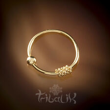 Gold Plated Ornate Nose Ring, Indian Sterling Silver Tribal Nose Ring (code 1)