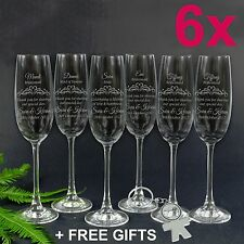6x Personalised Engraved Champagne Glass Flute Wedding Bridal Party Bridesmaid