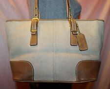 COACH Beige Canvas Tan Leather Medium Shoulder Hobo Tote Satchel Purse Bag