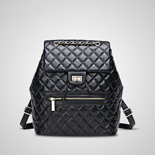 Womens Quilted Sheepskin Genuine Leather Backpack Travel Chain Shoulder Bag New