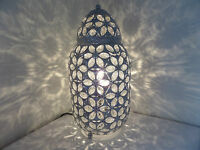 Chrome Table Lamp Stunning Moroccan Style Jeweled Cutwork Flower Brand New
