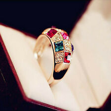 Charm Women Colourful Rhinestone Crystal Finger Dazzling Ring #8 Fashion Jewelry