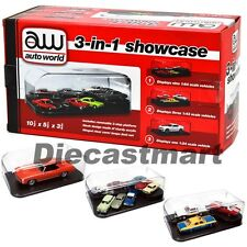 AUTOWORLD AWDC004 1:24 1:43 1:64 3 IN 1 COLLECTABLE DISPLAY CRYSTAL SHOWCASE NEW