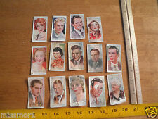 Film Stars cigarette cards John Player and Sons lot of 14 1940's