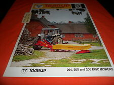 (Drawer 9) Taarup Disc Mower 204 205 206 Farm Equipment Brochure Specifications