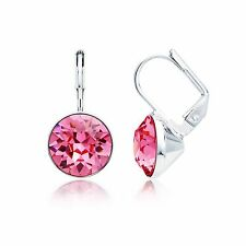 MYJS Bella Mini Drop Earrings with Rose Swarovski Crystal Rhodium Plated