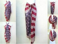 VINTAGE JULY 4 US AMERICAN FLAG PATRIOTIC SARONG BIKINI COVERUP SHEER WRAP DRESS