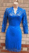 ASOS BLUE FLORAL LACE PENCIL V NECK TEA BODYCON TUBE RARE PARTY DRESS 8 S