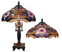 """CH1B145PD19-TL2 Dragonfly Tiffany Style Stained Glass 2-Lt Table Lamp 19"""" Shade"""