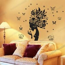 Beautiful Flower Girl& Butterflies Wall Stickers Stylish Home Art Decals