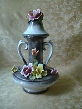 """Vintage Capodimonte Large Handled Urn Vase with Lid ~ Roses Italy 17"""" Tall"""