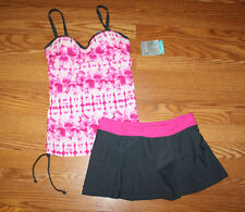 NWT Womens FREE COUNTRY Tye Dye Pink Tankini Swim Gray Skirt Suit Sz M Medium