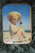 1951 SHARP AND SON SWEET TIN. BOY WITH TOFFEE APPLE ON BEACH!