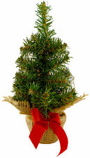 25cm Green Desktop Christmas Tree - Brown Mesh & Red Bow Base - (DP204)
