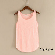 Womens Sleeveles Plain Sleeveless Ladies Stretch Long Strappy Cami Vest Tank Top