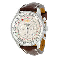 Breitling Navitimer GMT Automatic Silver Dial Brown Leather Mens Watch