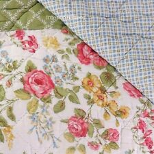 LAURA ASHLEY Floral Patchwork FULL QUEEN QUILT green pink blue 100% COTTON NEW