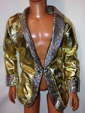 MATTEL METALLIC GOLD BLAZER JACKET ~ BARBIE LOVES ELVIS KEN DOLLS CLOTHING