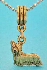Yorkshire Terrier Dog Breed Gold Tone Slider Charm for Bracelet OR Necklace