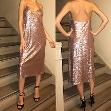 ZARA NEW AW 2016 Collection LONG SEQUINNED DRESS SZ S Nude Gold Pink