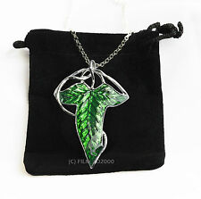 LOTR Lord Of The Rings Hobbit Frodo Aragon ELVEN LEAF BROOCH Necklace + Gift Bag
