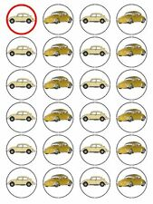 """X24 1.5"""" VW BEETLE CAR CUP CAKE TOPPERS DECORATIONS ON EDIBLE RICE PAPER"""