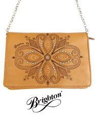 Brighton Honey Leather Cross Body Organizer Purse with a Floral Design - New
