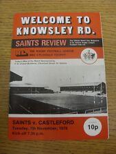 07/11/1978 Rugby League Programme: St Helens v Castleford [BBC Floodlit Trophy]