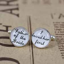 2PCs Glass Mens shirt Cufflinks Wedding Groom Gift--Father of the Bride