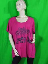 IKEBANA Taille 58 60 GRANDE TAILLE Superbe tee shirt manches courtes rose T-shir