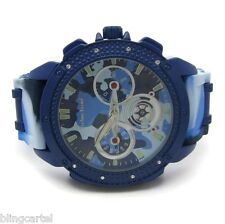Blue Camo Watch Silicone Bullet Band Men's Boys Army Camoflauge Iced-Out Bling