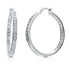 """1.25"""" Inside Out Brilliant Round Diamonique CZ Hoop Earrings AntiTarnish Silver"""