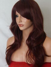 Red Brown Womens Fashion Party Long Wavy Curly Ladies Hair Wig party wig P18