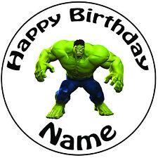 """Cumpleaños Personalizado increíble Hulk Redondo 8"""" fácil Precortada Glaseado Cake Topper"""